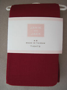 231a668064102 NWT Janie and Jack Red Microfiber Tights/Stockings Size 2T 3 4 5 6 7 ...