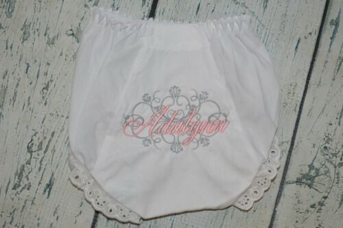 CUSTOM Personalized  Baby Bloomers Diaper Cover  Monogram Vintage Scroll Bloomer