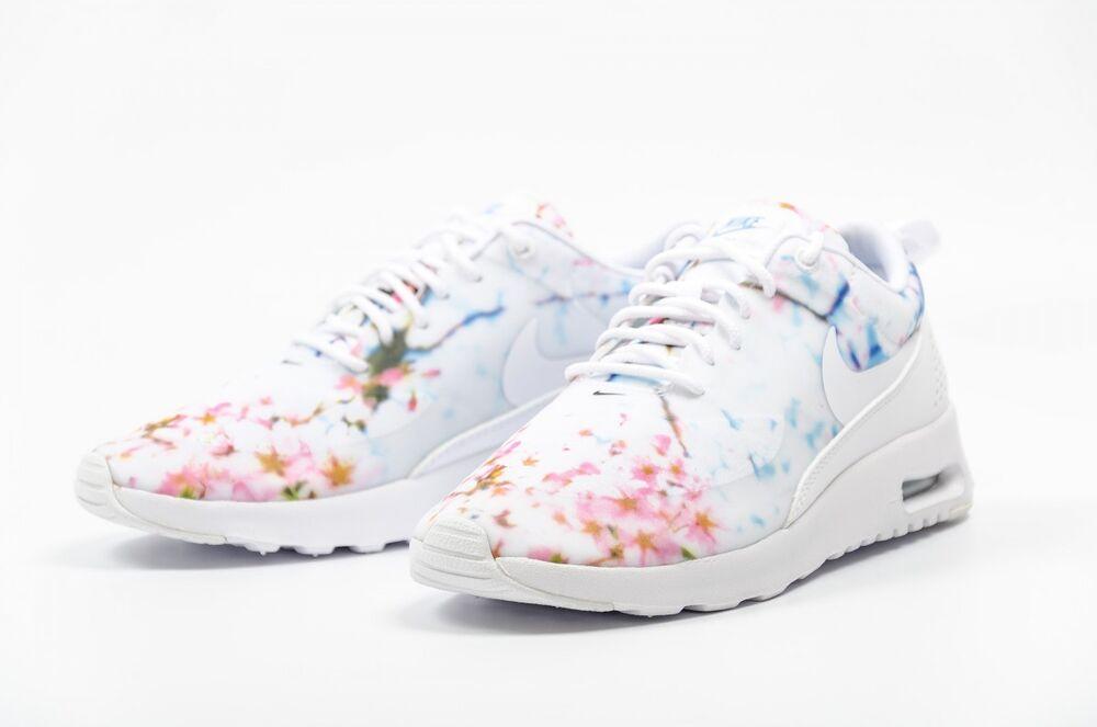 AUTHENTIC NIKE Air Max Thea BLANC Rose Bleu Cherry Blossom 599408 102 Women Homme  Chaussures de sport pour hommes et femmes