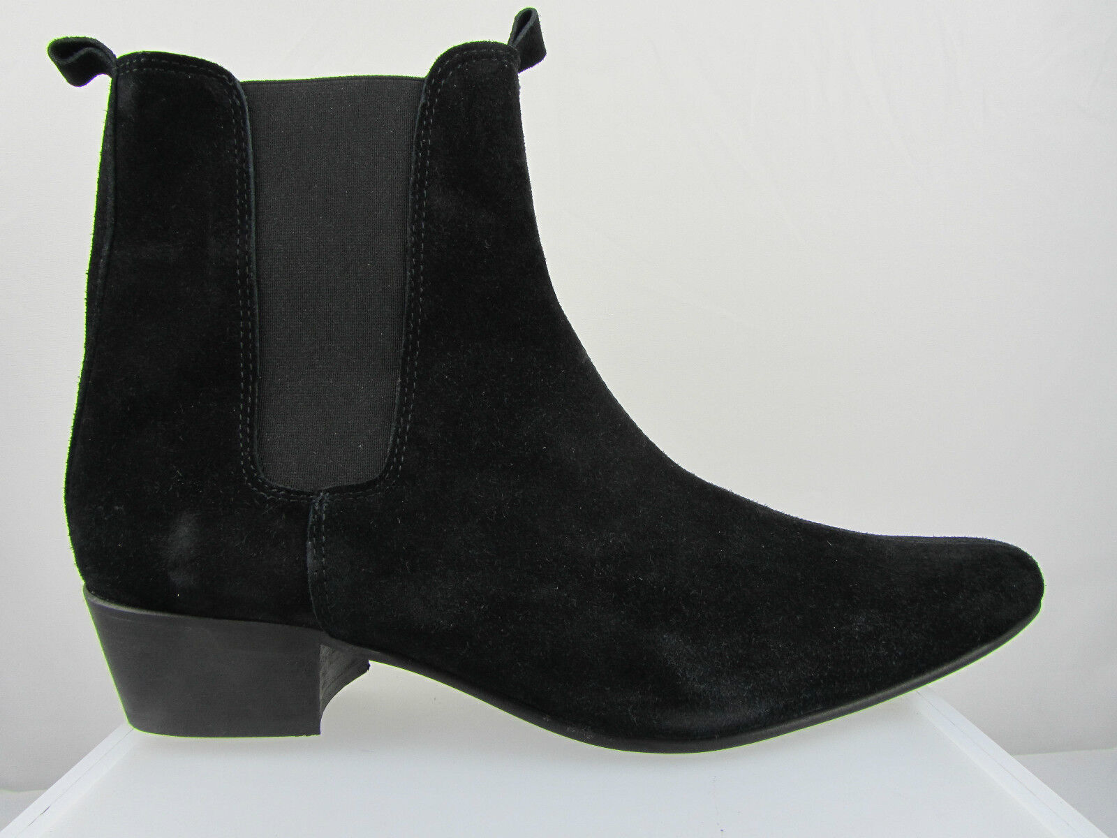Retro Mens Lennon Black Suede Beat Cuban Heel Beatle Boots Hand Made Finishing