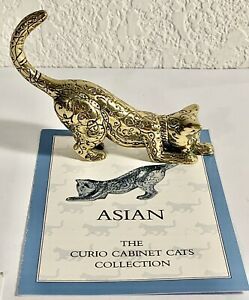 Franklin-Mint-Curio-Cabinet-Cat-Collection-Figurine-Asian-Cat-1986-Brass-W-Book