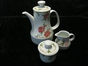DDR-Porcelana-Colditz-Inglasur-Kaffeekern-3-Piezas-Jarra-Azucarero-Desnatadora