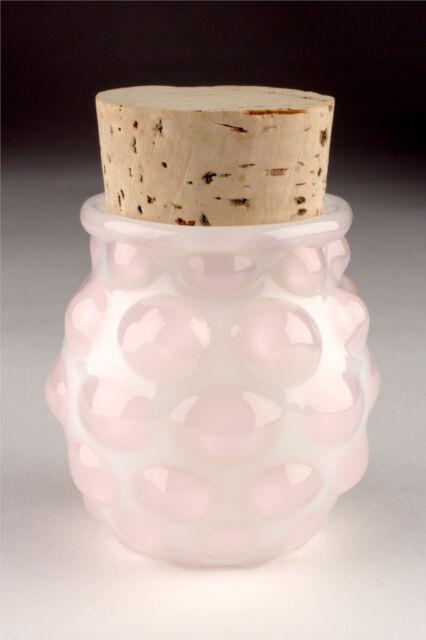 Blown Glass Large Polka Dot Jar - Pink/White - Handmade Bottle