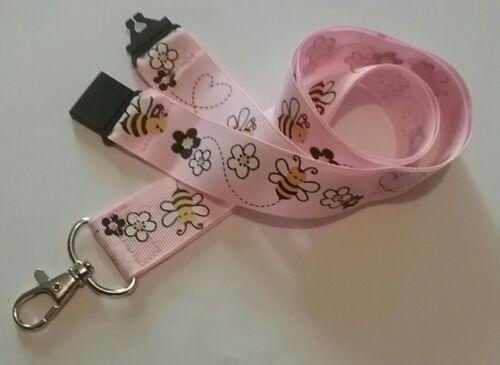 Pink ribbon bees lanyard honey safety breakaway ID badge holder Xmas gift a