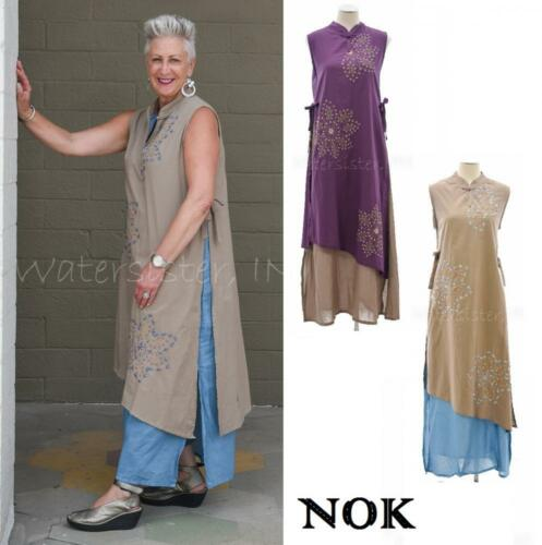 WATERSISTER Cotton NOK Hand-Embroidered 2-Layer DORI DRESS Smock S-4XL 2 COLORS