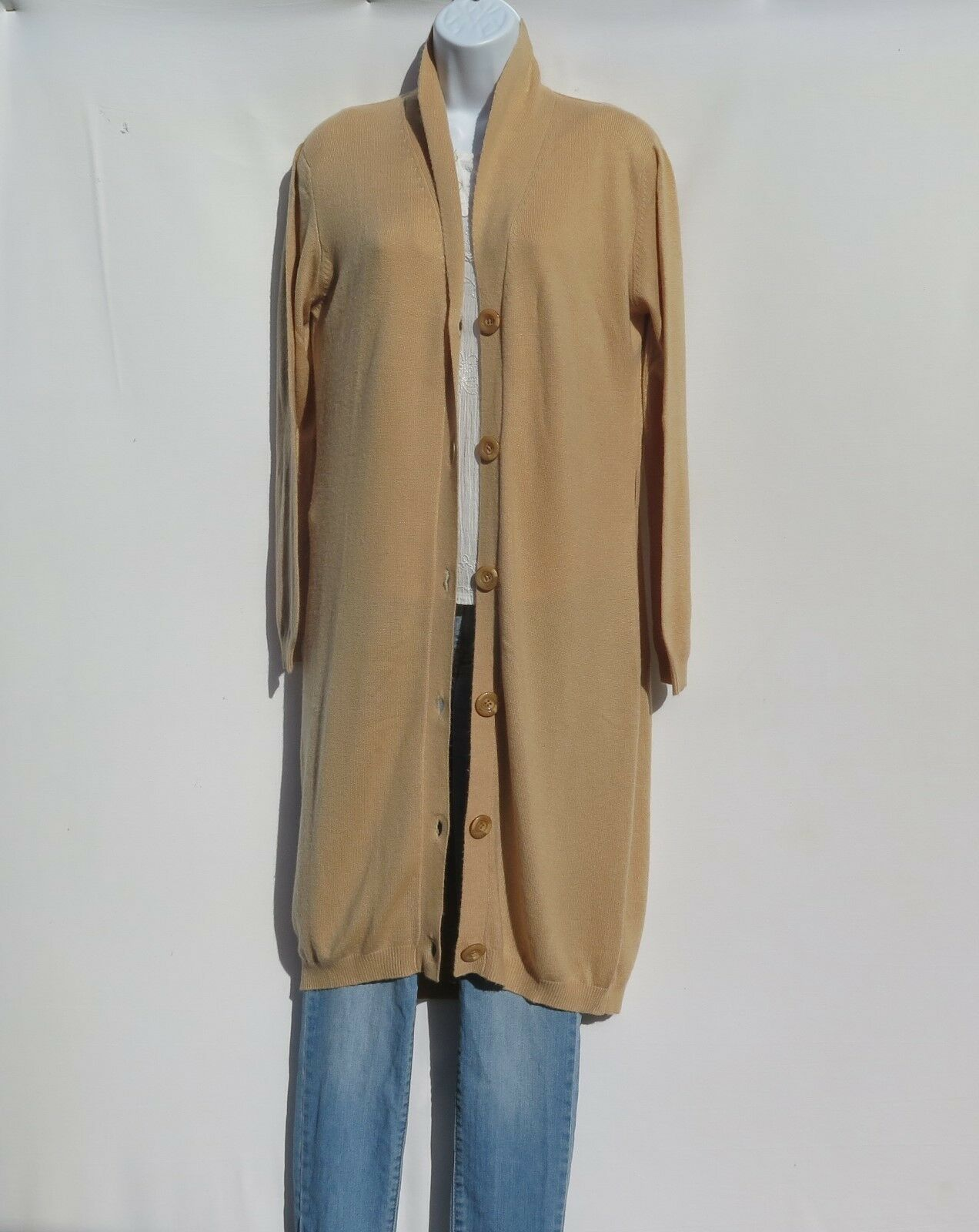 100% Cashmere High A Quality Tibetan Knit Extra Long Button Cardigan S-M Camel