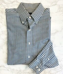 Jos-A-Bank-Tailored-Fit-Blue-Check-Button-Down-Shirt-Travelers-Collection-Mens-M