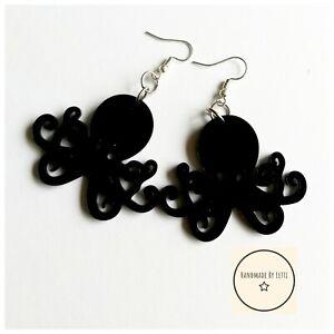 Giant-Octopus-Earrings-50mm-acrylic-dangle-Drop-black