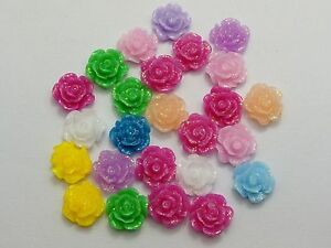 100-Mixed-Color-Flatback-Resin-Floral-Flower-Cabochons-9mm-Embellishments