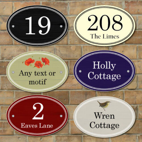 Personalised House Number Sign,Wooden Effect Oval Plaque