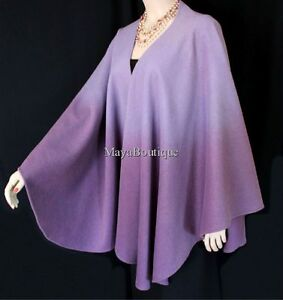 Cashmere-Cape-Ruana-Wrap-Ombres-Hand-Dyed-Lilac-amp-Amethyst-Maya-Matazaro