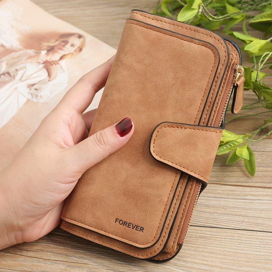 Long Wallets Glamorous Retro Multiple Slots Gradient Matte Leather Ladies Purses