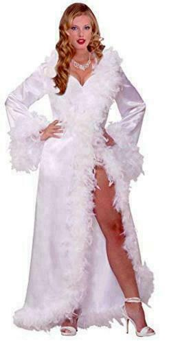 COMPLETE HOLLYWOOD MARABOU SATIN FEATHER ROBE COST