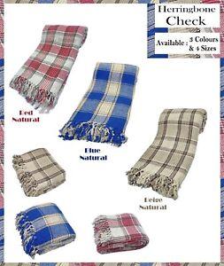 100-Cotton-Check-Herringbone-Sofa-Settee-Bed-Throw-3-Colors-amp-4-Sizes