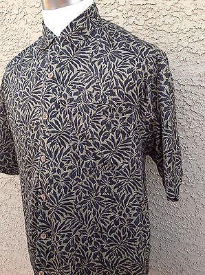 Tommy Bahama Relax Medium 100% Silk Brown/Black Stamped Tropical  Shirt B52