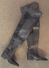 Vintage 1980's New In Box Women's Black Leather Thigh High Biker Boots