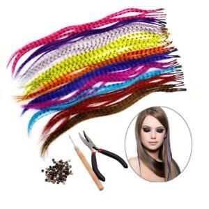 Plume-Extension-Kit-cheveux-avec-52-plumes-synthetiques-100-Perles-Pinces-amp-H