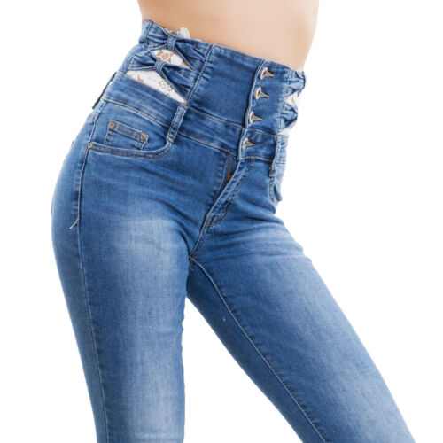 Spitze Jeanshose Elastisch Taille Hohe Skinny Schlank M5875 Neu Frauen zpSVMU