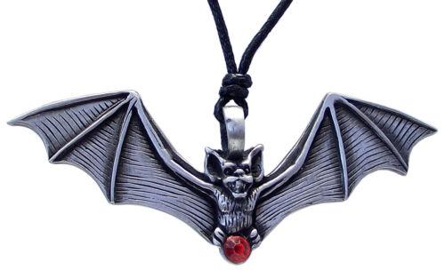 Bate De Estaño Con Rojo Joya Colgante Collar de cordón negro ajustable en Rockabilly