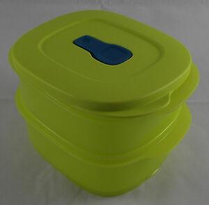 Tupperware-MicroTup-Crystal-Wave-Stapel-Geschirr-2x500-ml-Limette-Gelb-Neu-OVP