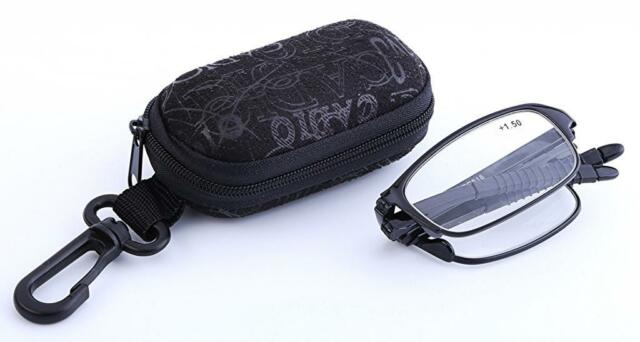 RG51/3  Black Folding,Bendable TR90 Reading Glasses with Case + Cloth +2.0+2.5