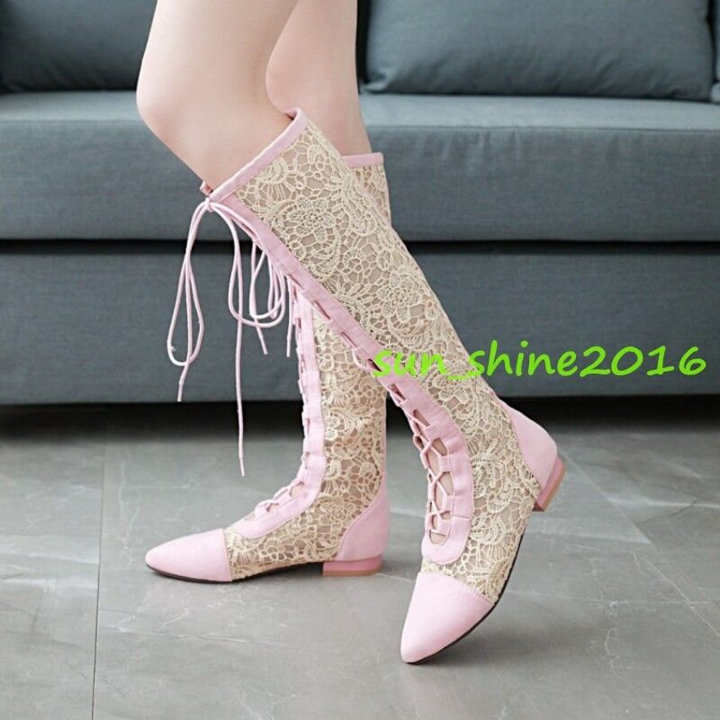 Womens Summer Knee High Boots Lace Up Lace Floral shoes Low Heel pointy Toes 43