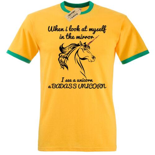 Badass Unicorn T-Shirt Herren Lustige Ringer