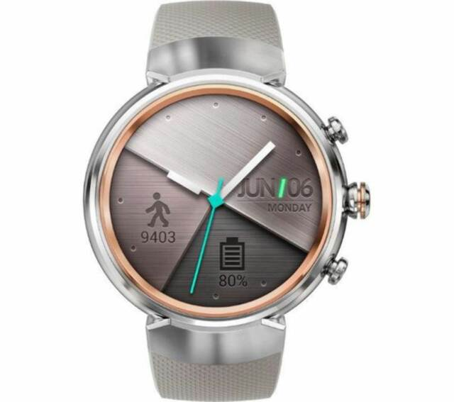 ASUS Zenwatch3 WI503Q New Android Wear OS 2.0 Silver Rubber Beige IP67 certified