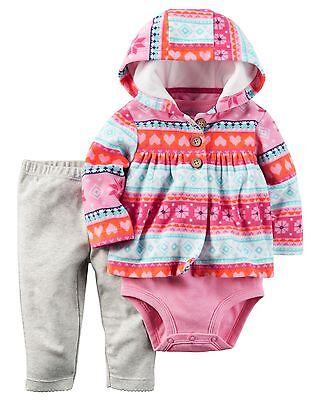 Carter/'s Infant Girls 3-Piece Little Vest Set Pink//Blue Stripe NWT outfit