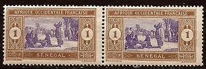 AOF-SENEGAL-2-Francobolli-si-holding-N-YT-53-de-1924-Mercato-indigene-168T2