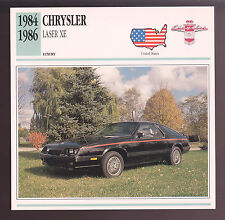 1984 1985 1986 Chrysler Laser XE Hatchback Car Photo Spec Sheet Info Stat CARD