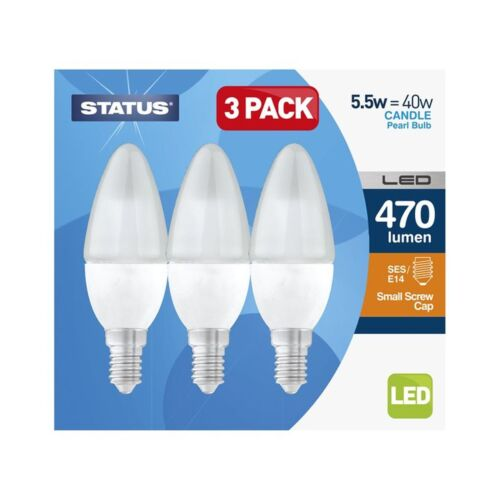470 Lumen 5.5W Status Box Of 3 LED Small Edison Screw Cap Candle Bulbs
