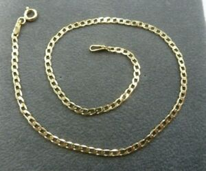 9ct-Solid-Gold-Curb-Anklet-1-3-grams-Fully-Hallmarked-amp-Boxed