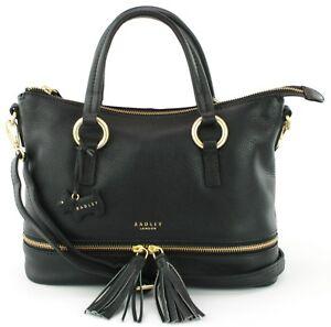 Radley-Shoulder-Cross-Body-Bag-Pickering-Medium-Handbag-Black-Leather-RRP-219