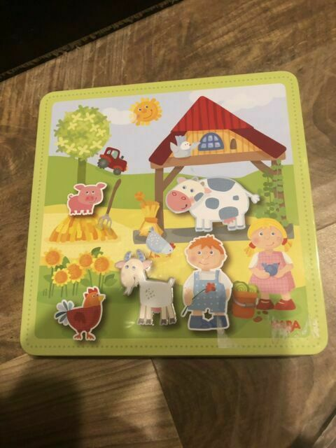 HABA Peter and Paulines Farm Magnetic Game with 4 Background Scenes in Storage Tin