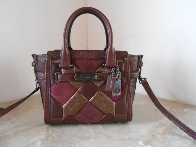 New Coach 55511 Swagger 21 Canyon Quilt Mixed Crossbody 450 Oxblood Bronze
