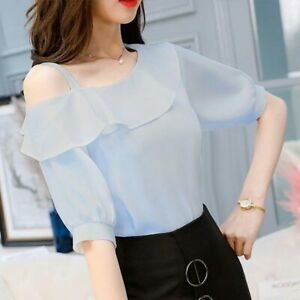 Women-Chiffon-Ruffle-T-Shirt-Sexy-One-Shoulder-Short-Sleeve-Ladies-Blouse-Tops