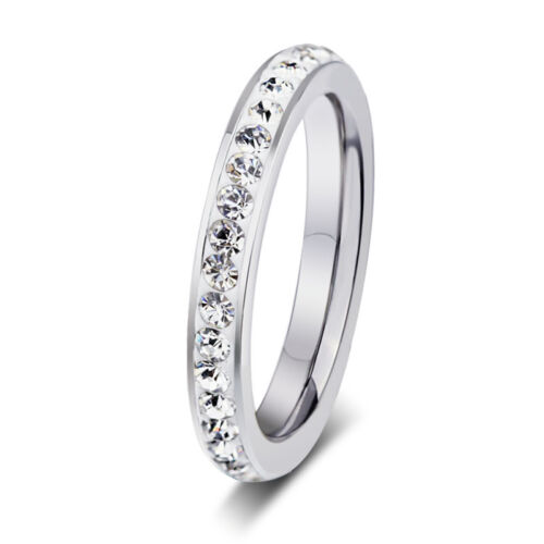 Titanium Stainless Steel CZ Crystal Engagement Ring Wedding Size 5-9 Propose 3mm