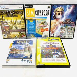Vintage PC 5 Spiele Bundle-Sim City 2000, Civilization IV, Transport Tycoon VGC