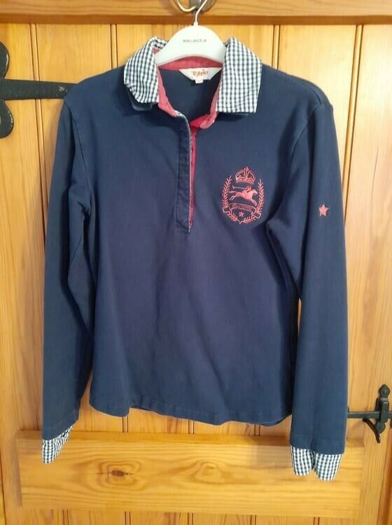 Tottie Equestrian Long Sleeve Fitted Sweatshirt Polo Rugby Shirt Top Size Medium