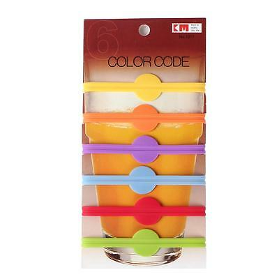 6 Silicone Rings Party Wine Glass Bottle Drink Markers Charms Cup Marker