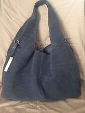 CLAUDIA Firenze Made in Italy Blue Suede Hobo w/Tassel Shoulder Bag NWT