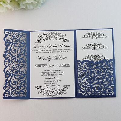 50 Personalized Laser Cut Pocketfold Wedding Invitation Cards With Envelopes Ebay