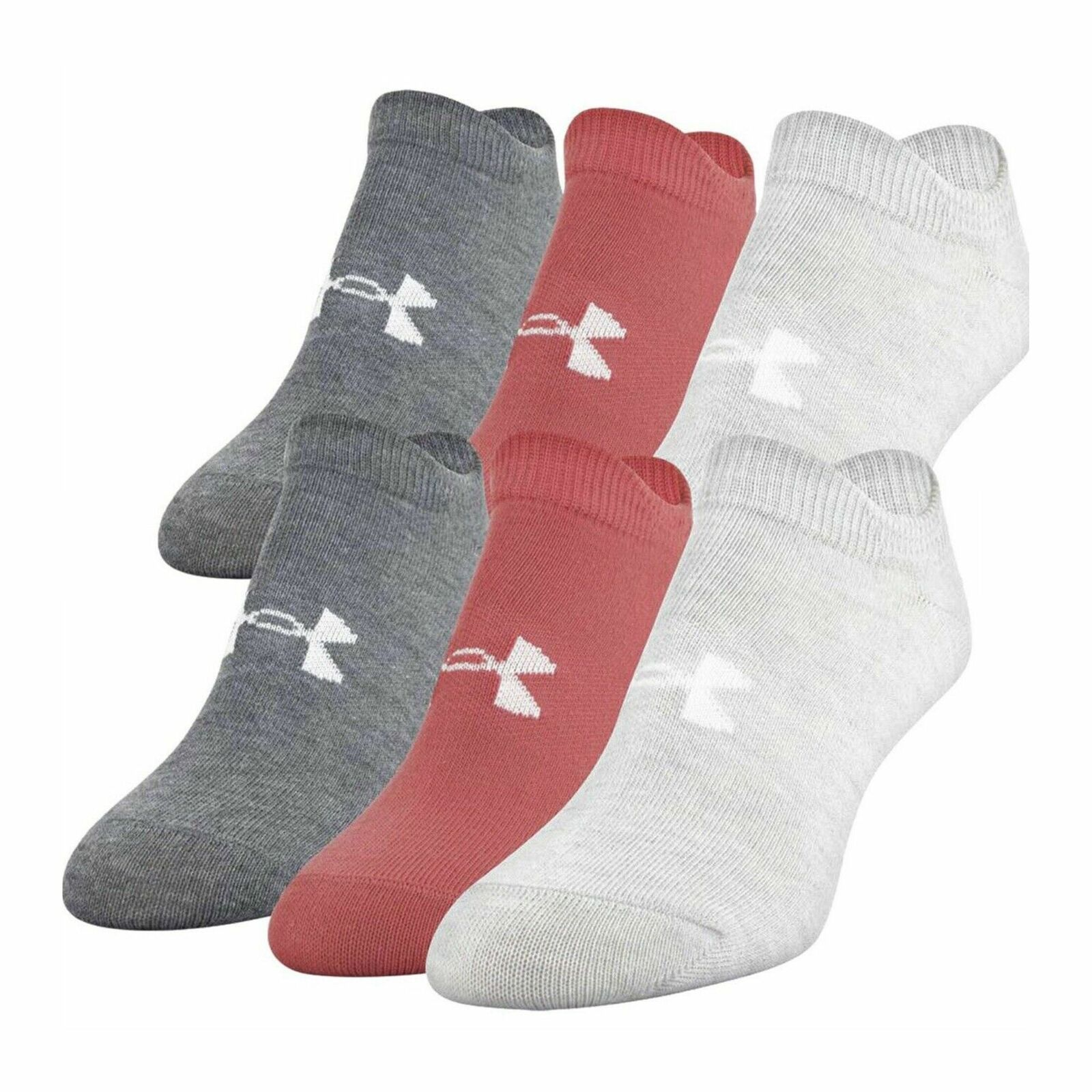 (6 Pair) Under Armour Womens Heather Assorted Essential No-Show Socks Sz 6-9