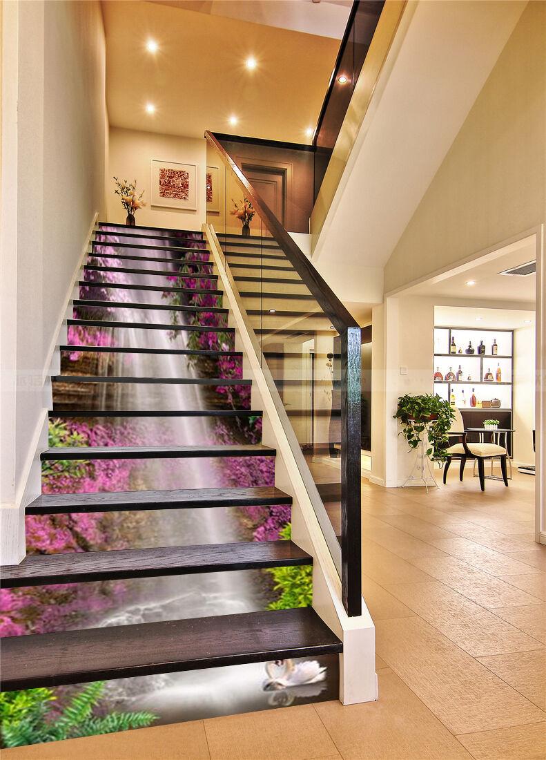 3D Falls Flowers 65 Stair Risers Decoration Photo Mural Vinyl Decal Wallpaper AU