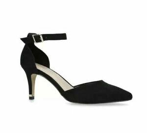Kurt Geiger Black Wide Fit Shoes Size 7 High Heel Court Ankle Strap Carvela