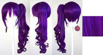 23'' Curly Pony Tail + Base Indigo Purple Cosplay Wig NEW