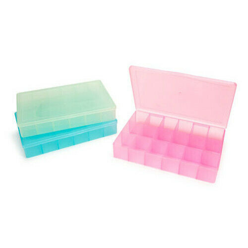 Darice Bead Craft Organizer Plastic Containers 17 Compartment Lime Teal Magenta
