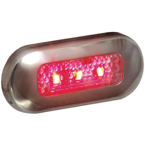 Marine/Boat LED Oblong Oval Surface Mount Courtesy Light - Red