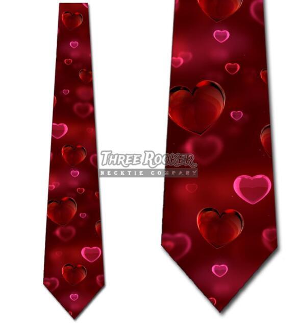 ea4c1f034611 Glass Hearts Necktie Valentine's Tie Men's Holiday Neck Ties Brand New